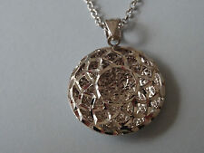 VERONESE /QVC ROUND OPEN WORK PENDANT & CHAIN WHITE GOLD ON STERLING SILVER-NEW
