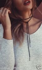 5mm GOLD & SILVER Tube Black Leather Suede Choker Necklace