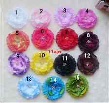 Lot Wholesale baby Girl Lady Women 3.2inch Silk Flower Hair Bow Clip 15 color