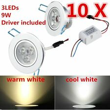 10pcs Ceiling Light Dimmable LED Recessed Ceiling Flood Down Spot Light Bulb 9W