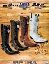 Wild West Men's 6X-Toe Caiman Belly Print/Deer Cowboy Western Boots Diff. Colors