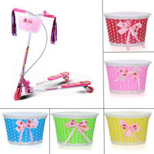Bike Flowery Front Basket Bicycle Cycle Shopping Stabilizers Children Girls WF