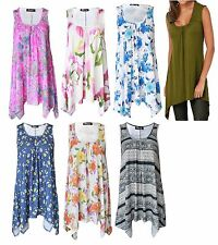 Womens Summer Sleeveless Hanky hem Ladies Floral Top Flared Dress Plus Size
