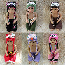 New Cute Handmade Knit Crochet Owl Girl Baby Hats&Pants Newborn Photo Prop Gift