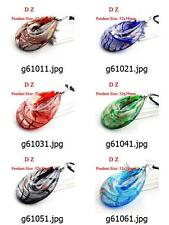 g610m35 Chic Teardrop Dichroic Murano Lampwork Glass Bead Pendant Cord Necklace