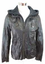 HI - Buxter Women's Leather Jacket of Faux leather Hood black NEW 7233