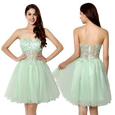 Strapless Short Homecoming Juniors Dresses See-through Mint Party Gowns Size 14