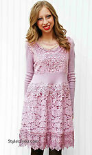 NWT  Pretty Angel Clothing Victorian Dress Joella Tunic Sweater  In Mauve  10814