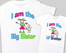 """Matching """"BIG SISTER, Little' BROTHER"""" Sibling Shirt WHITE, Tees sold separately"""
