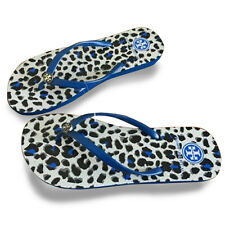 Blue Leopard Design Women Tory Burch flat flip flops beach sandals slippers New