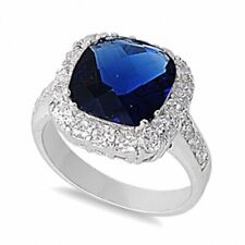 Halo Cocktail Wedding Engagement Ring Sterling Silver 3CT Sapphire Russian CZ