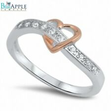 2 Tone Heart Plain Promise Band Ring Sterling Silver Rose Gold Plated Russian CZ
