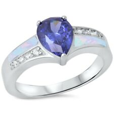 Wedding Engagement Ring 925 Sterling Silver 1.80CT Lab Opal Tanzanite Russian CZ