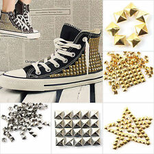 100pc 4 size Square Pyramid Rivet Metal Studs Spots Spikes Punk Leathercraft DIY