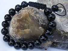 Mens Womens GEMSTONE bracelet 10mm 12mm BLACK RED NATURAL AGATE beads