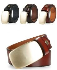 Men's Oval Copper Buckle Belt Genuine Leather Big Mental Classic Belt M-3XL