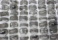 New Mixed Lots 25pcs Clear Crystal Rhinestone Silver P Charm Classic Women rings