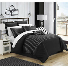 Beautiful Transitional Black White Embroidered 9-PC Comforter Set Queen King