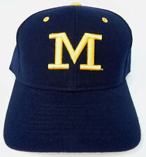 MICHIGAN WOLVERINES NAVY NCAA VINTAGE FITTED SIZED ZEPHYR DH CAP HAT NWT!