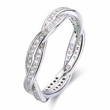 SFFH71 .925 Sterling Silver Twisted CZ Stone Engagement Women's Rings Size 6,7,8