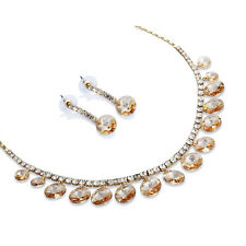 Pure Swarovski Crystal Elements Necklace Earring Set, Bridal Vintage Jewellery