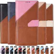 Color splice PU Leather Card Pouch Cover For Apple iPhone Stand Shockproof Case