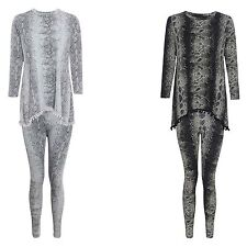 NEW LADIES SNAKE PRINT POM POM TRACKSUIT WOMENS JOGGING LOUNGE SET SIZE 8-26