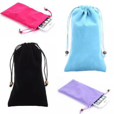 Soft Velvet Cloth Protect Neck Strap Sleeve Case Pouch Bag For iphone Samsung