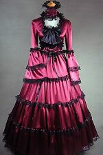 Deep Red Satin Long Sleeves Black Lace Classic Lolita Dress 407 Costume Cosplay