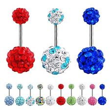 Navel Belly Button Ring Barbell Rhinestone Crystal Ball Piercing Body Jewelry HA