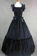 Black Sleeveless Cotton Classic Elegant Lolita Dress #410 Costume Cosplay