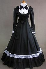 Black White Long Sleeve Cotton Bow Gothic Elegant Lolita Dress #420 Costume