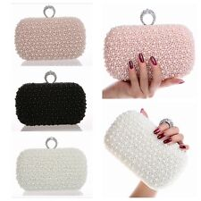 Pearl Beaded Party Ring Clutch Handbag Wedding Bride Prom Evening Purse Bag