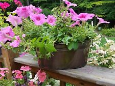 Country Rustic Vintage Antique Brown Oval Tub Flower Planter w/ Ring Handles NEW