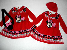 BNWT Baby Girls Disney MINNIE MOUSE Red Knitted Dress Outfit 9-12-18-24 months