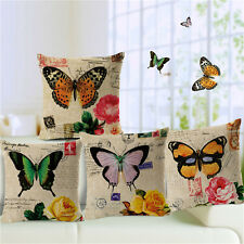 Vintage Butterfly Cushion Covers Cotton Linen Throw Pillow Case Home Decor
