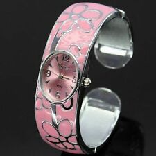 Fashion Women Steel Flower Crystal Bangle Cuff Bracelet Quartz Wrist Watch Gift