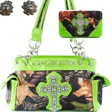 Western Camo Cross Camouflage Handbag Rhinestone Purse With Matching Wallet