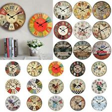 Vintage Wall Clock Rustic Shabby Chic Home Kitchen Wooden 30cm Decor 24 Types