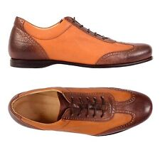 KITON NAPOLI Handmade Brown Tan Leather Casual Lace-up Shoes NEW