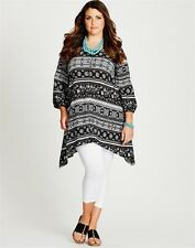 Autograph Plus Size 20 22 Black White 3/4 Sleeve Tunic Tops Fit Plus Size 24 26