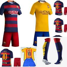 new 15-16 BARCELONA FOOTBALL KITS+SOCKS  3-14 years MESSI NEYMAR SUAREZ own name
