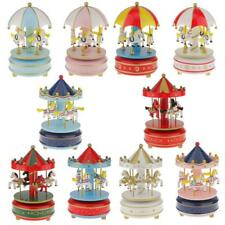 Vintage Horse Carousel Music Box Kids Wind Up Toy Kid Christmas Gift Table Decor