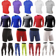New Mens Compression Shirt Armour Base Layer Tight Tops Thermal Shorts Pants Gym