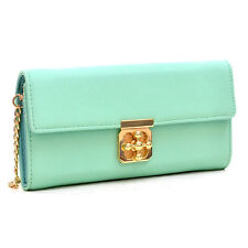 Women Long Purse Gold Tone Chained Wallet Faux Leather Twist Lock Wallet