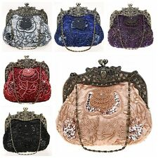 New Vintage Sequins Beaded Wedding Prom Party Handbag Clutch Evening Purse Bag