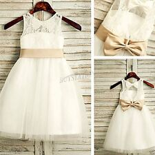 Lace Formal Princess Bridesmaid Flower Girl Dress Wedding Party Tulle Dresses