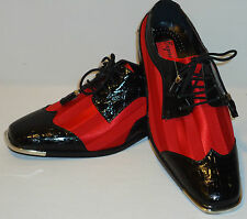 Expressions 6345 Mens Red Satin Stripe & Black Silvertip Spectator Dress Shoes