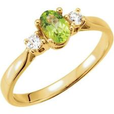14k Yellow Gold Oval Peridot and Diamond August Birthstone Ring