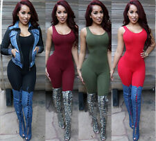 Women Bodysuit Bodycon Jumpsuit Sleeveless Sexy Backless Full Length Jumpsuits